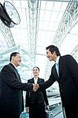 仰视,两个,商务人士,握手,职业女性,看