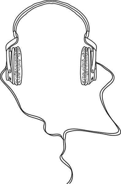头戴式耳机,插画