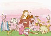 演奏小提琴的女人图片