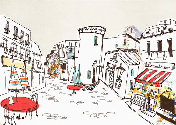 关于街道的风景的画儿