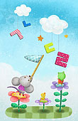 插画,动物,花,空中