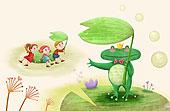 插画,儿童,青蛙