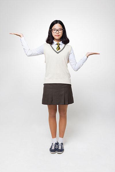 头像,学生,穿,制服,站立,韩国人