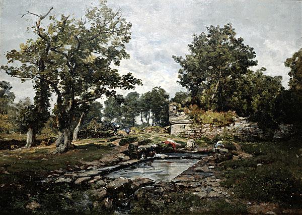 百科 >法国风景油画  洗,地点,油,以马利,法.