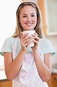 女人,肖像,喝,一杯咖啡
