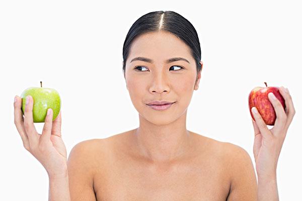 模特,拿着,苹果,看