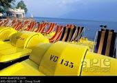 黄色,踏板船,岸边,洛桑,瑞士
