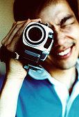 男人,看,取景器,摄像机