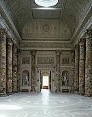大厅,德贝郡,英格兰,粉饰灰泥,工作,天花板,条纹大理岩,柱子