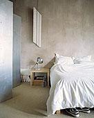 卧室,金属,折叠屏风,混凝土墙