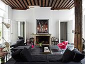 生活方式,区域,沙发,椅子,靠近,壁炉,柱子,法国,住宅,家