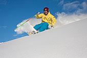 下坡,滑雪者,清新,粉末,胜地,阿拉斯加,冬天