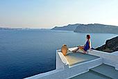 女人,蓝色,衣服,锡拉岛,南,爱琴海,希腊,欧洲