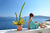 女人,绿色,连衣裙,锡拉岛,南,爱琴海,希腊,欧洲