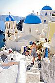 女人,走,向上,锡拉岛,南,爱琴海,希腊,欧洲