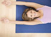 印度女人,卧,瑜伽垫