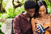 非洲,伴侣,俯视,摄像机