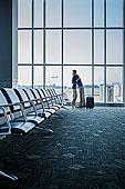 白人,情侣,搂抱,机场
