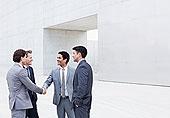 微笑,商务人士,握手,户外,文化中心