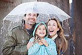 热情,家庭,伞,倾盆大雨
