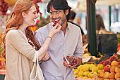 微笑,情侣,味道,水果,市场