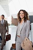 头像,微笑,职业女性,手提箱,机场