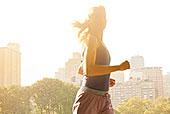 女人,跑,城市公园