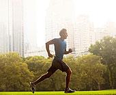 男人,跑,城市公园