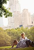 情侣,放松,城市公园