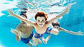 家庭,游泳,游泳池