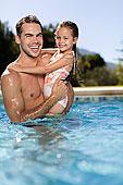 父亲,拿着,女儿,游泳池