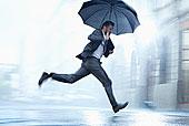 商务人士,跑,伞,下雨,街道