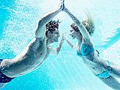 情侣,接触,水下