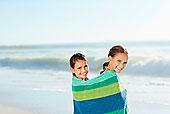 女孩,毛巾,海滩