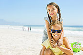 头像,微笑,女孩,搂抱,海滩