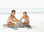 女孩,制作,沙堡,海滩