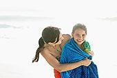 母亲,女儿,毛巾,海滩