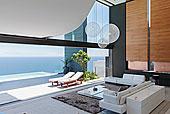 客厅,内庭,现代住宅,远眺,海洋
