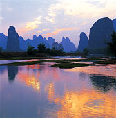 自然,场景,丽江,河,日落,广西