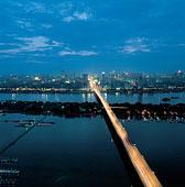 夜晚,长沙,城市,桥,上方,长江,河,湖南,省
