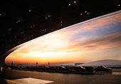北京首都国际机场T3航站楼三号航站楼清晨朝霞彩云