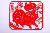 十二生肖剪纸猪