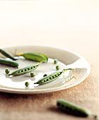 俯拍,豌豆,盘子