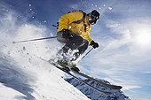 男性,滑雪,上方,山脊