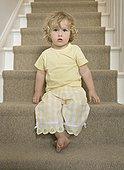 女孩,坐,楼梯
