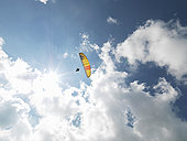 老人,滑翔伞,半空中,天空