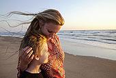 母亲,儿子,海滩