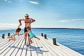 父亲,女儿,玩,码头,瑞典