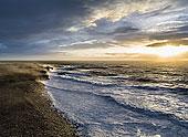 雷雨天气,海洋,日出,雷克雅奈斯,冰岛