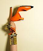 握着,橙色,凉鞋,制作,文字